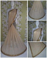 Georgette Fashion Arrival  Stone Work Light Cream Color Saree