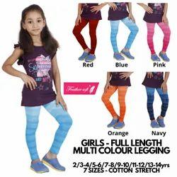 Girls Multi Colour Stripe Full Length Leggings