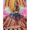 Stitched Banarasi Silk Ladies Blue Floral Banarasi Lehenga, With Blouse And Duaptta