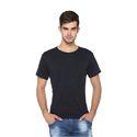 Men Black Solid Round Neck T-Shirt