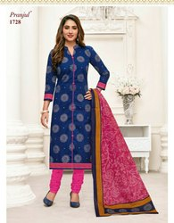 Blue And Pink Pranjul Cotton Dress Material