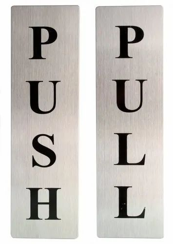 Self Adhesive Stainless Steel Push & Pull Metal Signage Board Combo, Silver - Push