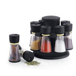 8 Jar Black Spice Rack