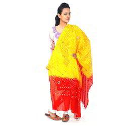 Red Yellow Cotton Jaipuri Dupatta  101