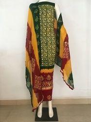 FK Textile Unstitched Block Print Wax Batik Salwar Suit, Handwash