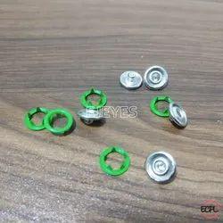 12mm Mild Steel Tich Buttons Green Nickel