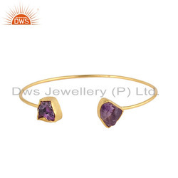 Designer Gold Plated Silver Womens Amethyst Cuff Bangle Jewelry