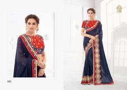 Navy Blue Color Fancy Saree