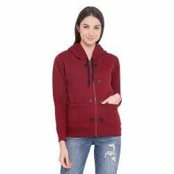 Hooded Plain Vimal Cotton Women Fleece Full Sleeve Sweatshirt For Women