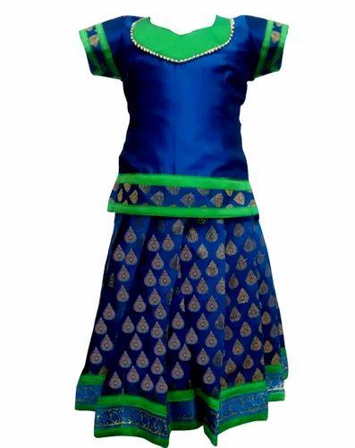 48c7526813 Blue Pure Silk Bujuma Pattu Pavadai, Rs 1499 /piece, Bujuma Kids ...