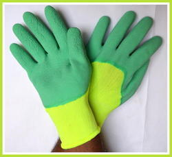 Light Green Nylon With Green Latex Foam Coated Gloves