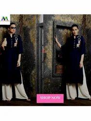 Maa Indian Fashion Navy Blue Rayon Kurti With Palazzo Set