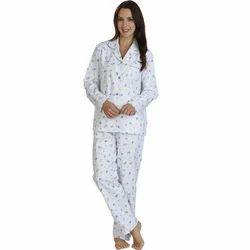 White Printed Ladies Cotton Pajama T-Shirt Night Suit
