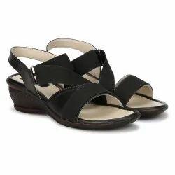 Dymo Party Wear Ladies Black Sandal, Size: 36-41 US