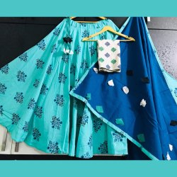 Pearl Flared Indian Ethnic Designer Sky Blue Cotton Skirt