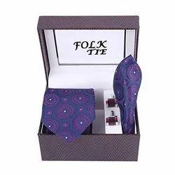 Neck Tie Pocket Square With Cufflink Set