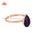 Purple Aventurine Gemstone Rose Gold Plated Adjustable Silver Ring