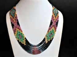 7-strand Sapphire, Ruby, Emerald Multi Color Gemstone Necklace