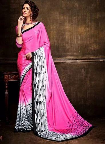 7d849a082d Pink Colour Pure Crape Silk Casual Wear Print Work Saree at Rs 1056 ...