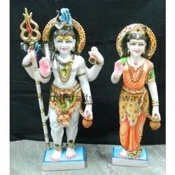 Standing Marble Shiv Parvati Statue