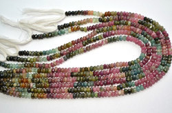 13.5 Inch 5mm Natural Multi Tourmaline Faceted Rondelle Beads