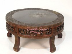 Solid Wood Round Center Table, For Hotel, Size: 24