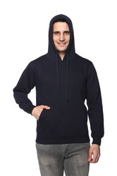 Solid Fleece Hooded Men Sweatshirt