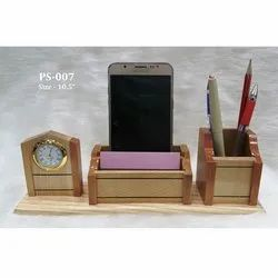 Wooden Pen-Mobile Stand With Clock