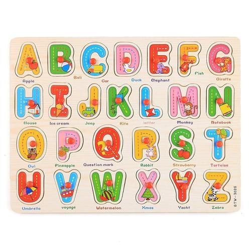 Kids Early Learning Wooden Letters Abc Alphabet 3d Pegged Puzzle Toy Tray