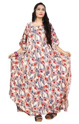 Floral Printed Rayon Cotton Kaftan For Women