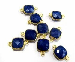 Set Of 6 Piece Blue Sapphire Cushion Shape Briolette Bezel Connectors Size 10mm.