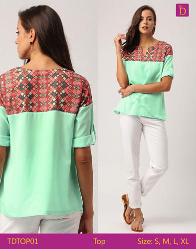 904cc84d12e7b Indusdiva Green Ladies Blouses   Tops Round Neck Short Sleeved Layered Top  with Geometric Prints Casual