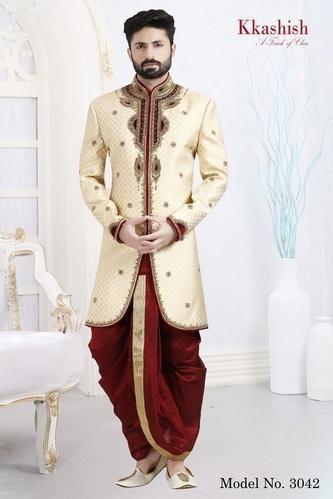 S And L Embroidered Wedding Classic Dhoti Sherwani