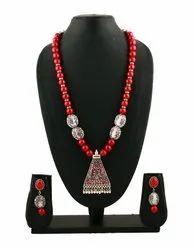 SPJ027 Simple Elegant Necklace Coral Gemstone Beads Meenakari Enamel