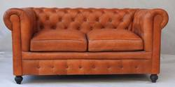 Vintage Leather Two Seater Tan Color Sofa