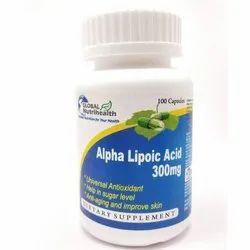 Global Nutrihealth Alpha Lipoic Acid 300mg Capsules, Packaging Size: 100 Capsules