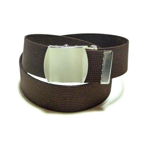 Brown And Silver Nylon School Belt, 7 - 16 Years