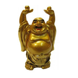 Aluminium Feng Shui Golden Laughing Buddha Showpiece