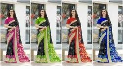Multicolor Silk Bhagalpuri Printed Saree, 5.2 m (Separate Blouse Piece)
