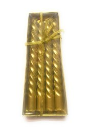 Cylindrical Golden Sparkle Candles, For Decoration