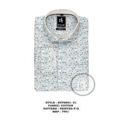 S-XL Cotton Mens White Printed Shirt