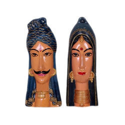 Dark Blue Gujarati Couples Face Wall Hanging