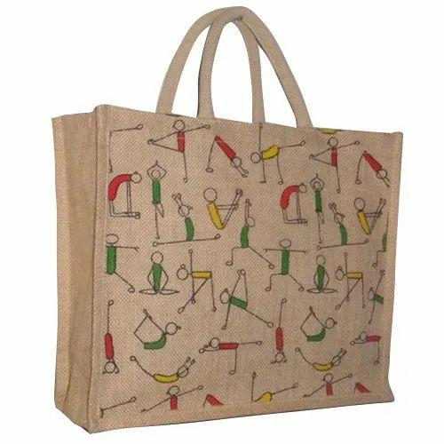 Loop Handle Printed Jute Shopping Bag