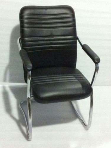 Visitor Office Chair Stainless Steel Stand Rexine Coated