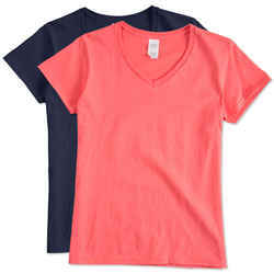 Half Sleeve Casual Wear Cotton Ladies V Neck T-Shirt