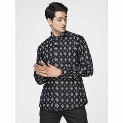 Green Hill Men's Printed Casual Black Shirt