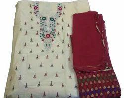 Formal Wear And Wedding Wear Red Chanderi Salwar Suit Unstitched (Handwork With Pure Dupatta)