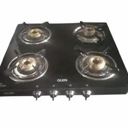 Black Stainless Steel Four Burner Gas Stove, for Kitchen