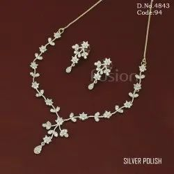 Rodium Polish American Diamond Necklace Set