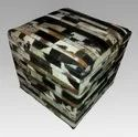 Sge Striped Leather Hide Poufs